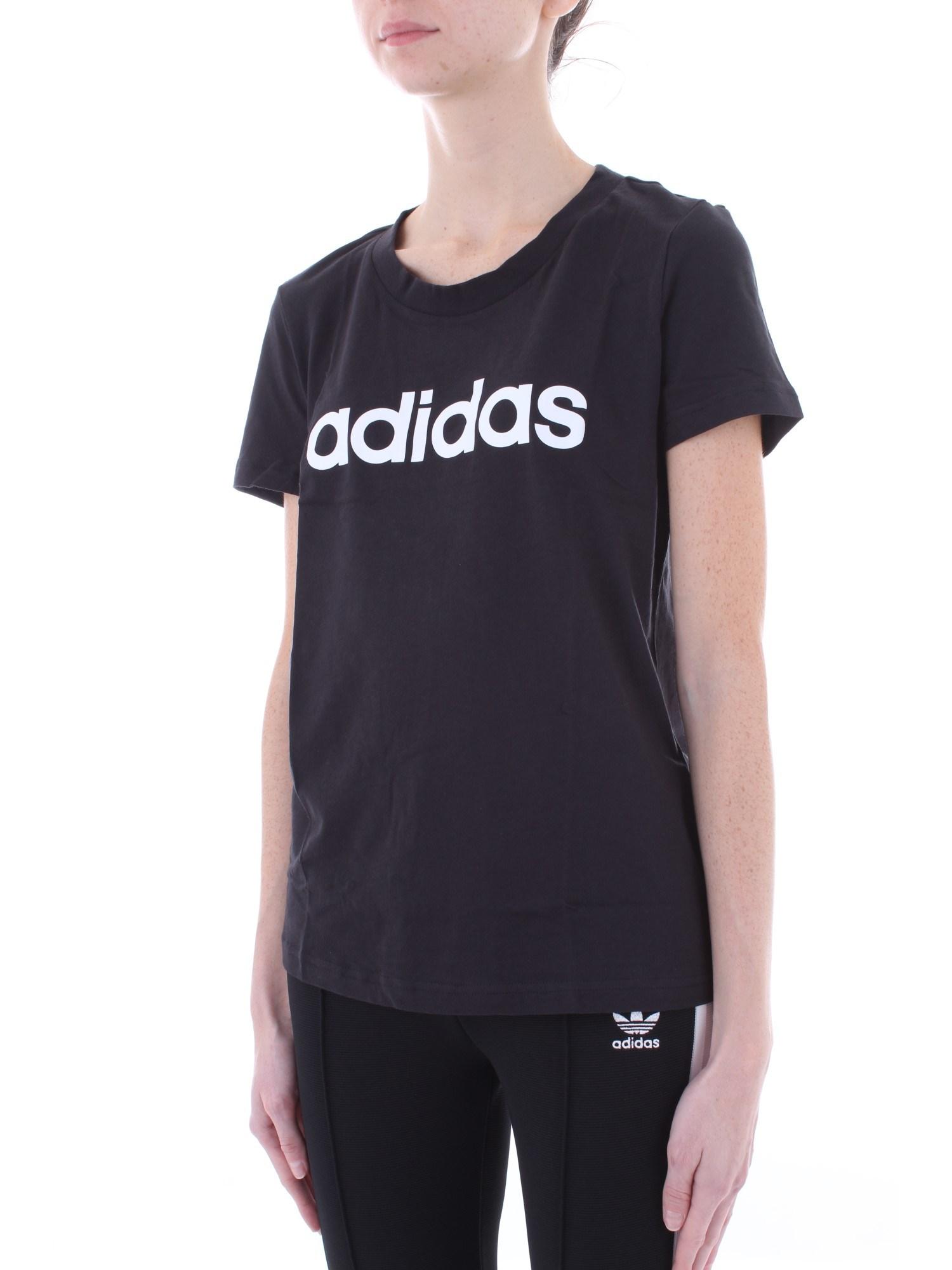 Dettagli su ADIDAS Donna DP2361 Nero T shirt AutunnoInverno cotone
