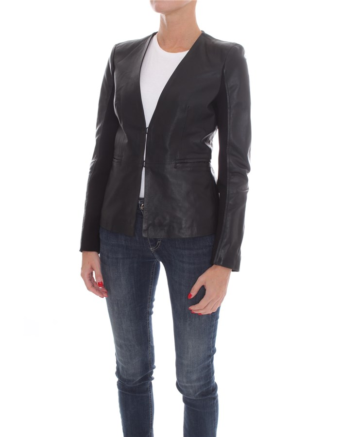 PINKO Leather jackets Black