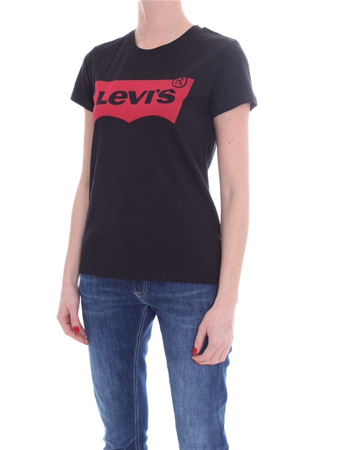 LEVI'S Short sleeve Black red
