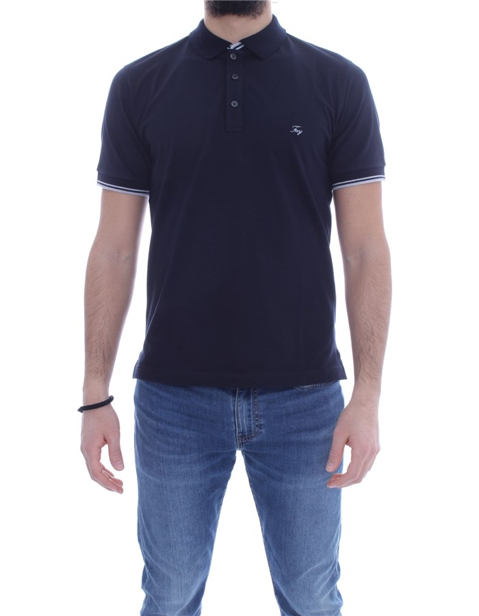 FAY Short sleeves Navy blue